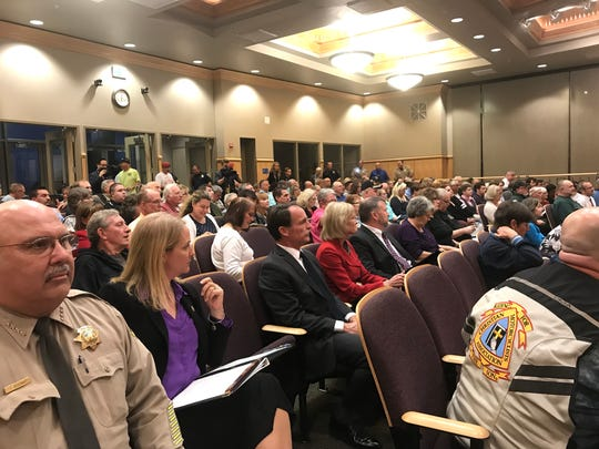 The Shasta County Board of Supervisors chambers was filled during a public safety workshop Wednesday.