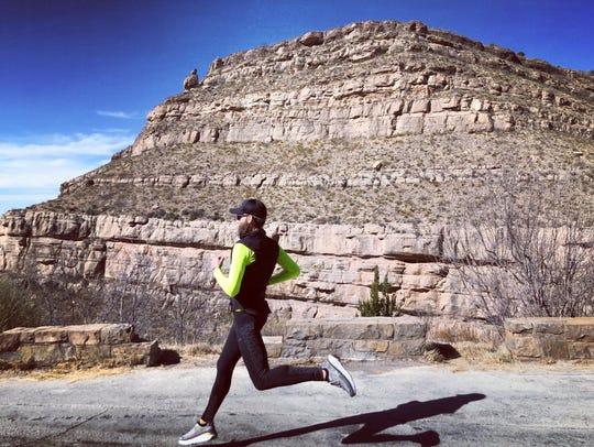 Darin Dorsett runs past southeast New Mexico's desert