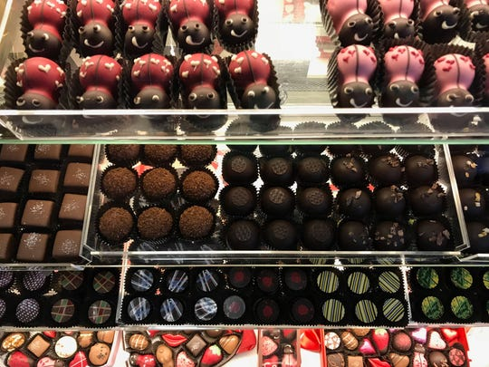 Truffles neatly lined up at Sweets on 3rd in Wausau.
