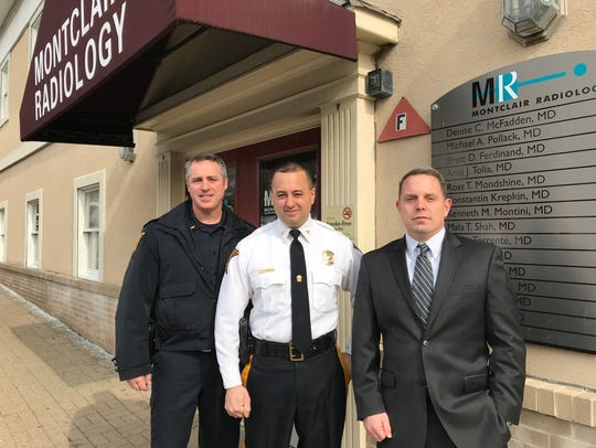 Nutley Police Lt. Mike Kraft, Police Chief Thomas Strumolo and Dr. Brett Ferdinand announce Montclair Radiology's free CT Calcium Scoring scans for officers, starting Feb. 9, 2018.
