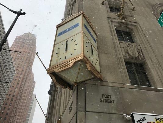 Penobscot Building Clock, with hands