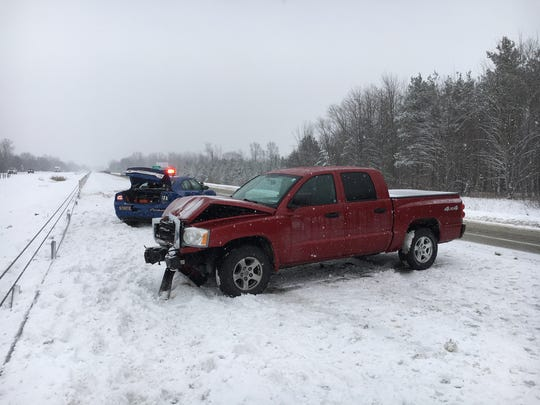 A truck rear ended a MSP trooper Friday afternoon on
