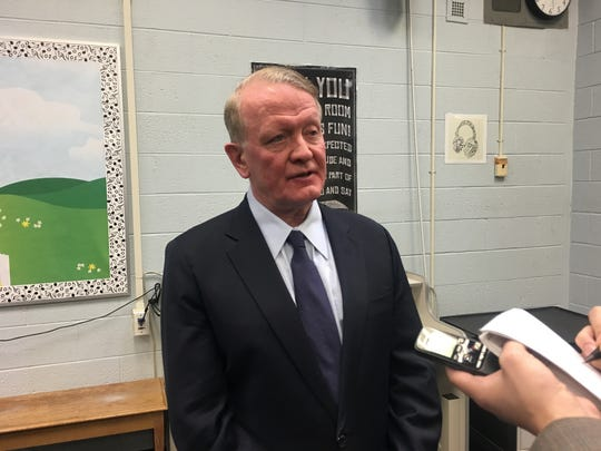 Rep. Leonard Lance speaks to reporters after his 46th town hall on Saturday, Feb. 10, 2018.