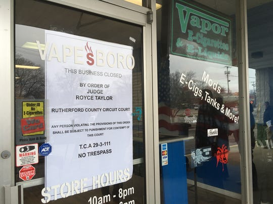 Vapes Boro on Middle Tennessee Boulevard was one of 23 businesses closed by a court order for allegedly selling candy and other items containing a marijuana derivitive.