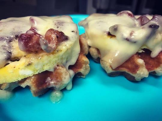 The Belgian Breggywich breakfast sandwich at Mitten