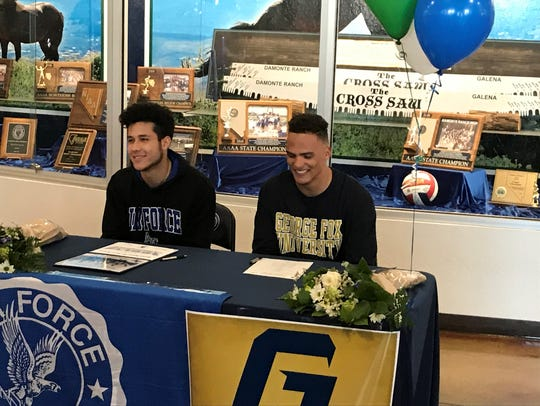 Dru Jacobs, left, and Cyrus Williams signed for college