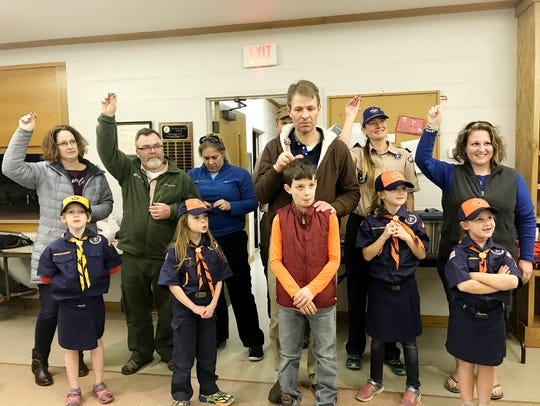 Female Cub Scouts attended a recent meeting.