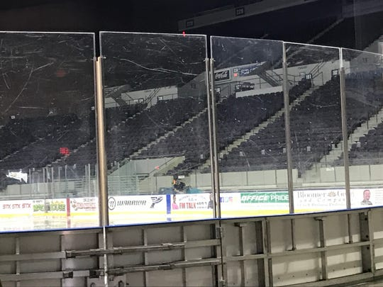 The plexiglass at the Pensacola Bay Center has been clouded from years of use and is one of the many facility needs within the building