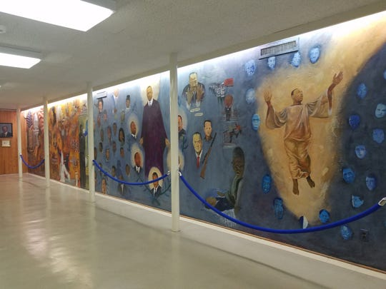 A mural at the Dexter Avenue King Memorial Baptist