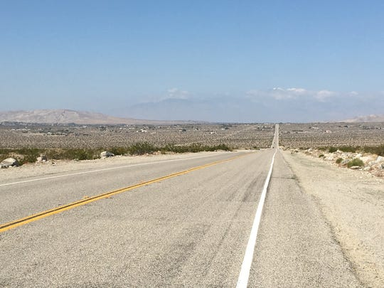 This photo shows Dillon Road in the Indio Hills area. A recent collision involving a Tour de Palm Springs bicyclist sparked outcries that motorists speed on the road.
