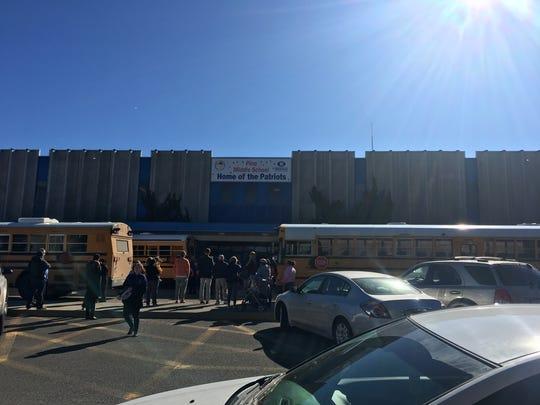 Scene outside Pine Middle School on Feb. 15, 2018.