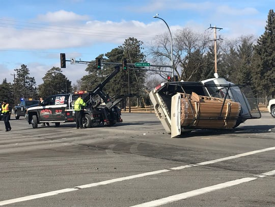 A rollover crash occurred about noon Thursday at Veterans