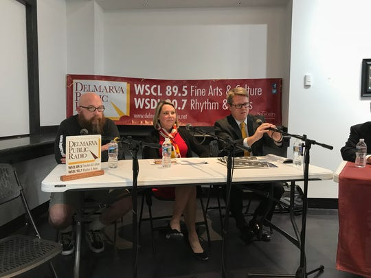 """From left, Blake Benn, Melanie Pursel and Len Foxwell sit on the panel at the """"Craft Beer Legislation Roundtable"""" at the Salisbury University Art Galleries on Feb. 15."""