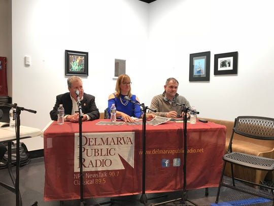 "From left, Bill Chambers, Ann McGinnis Hillyer and Jason Hearn sit on the panel at the ""Craft Beer Legislation Roundtable"" at the Salisbury University Art Galleries on Feb. 15, 2018."