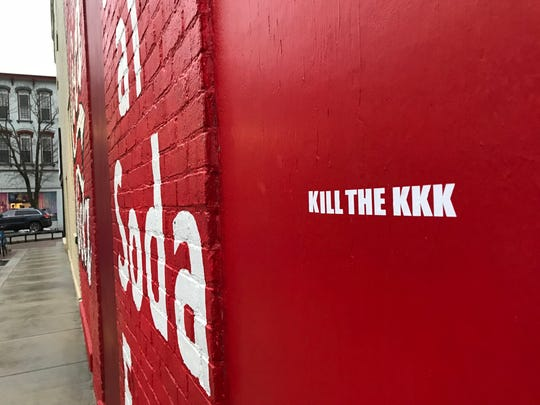 "A stencil reading, ""Kill the KKK,"" was found this week on a Coca-Cola mural on the side of a building at Eighth and Main streets. It was one of several anti-Klan graffiti and fliers found pasted to downtown properties in the past week."