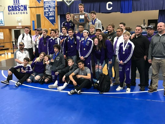 The Spanish Springs wrestling team won Region and state