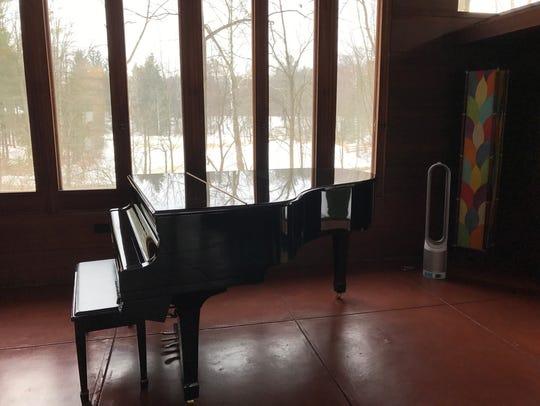 A view from inside the Goetsch-Winckler House seen