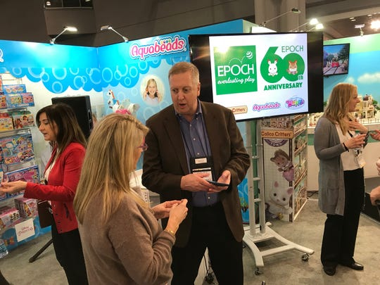 Michael Varda, president and chief executive of Epoch Everlasting Play in Parsippany, at the company's showroom at Toy Fair on Sunday, Feb. 18, 2018.