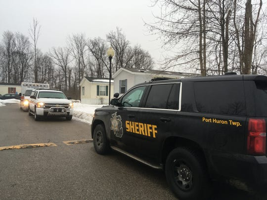 Rescue crews respond to a report of a deceased child in Port Huron Township Feb. 19. 2018.