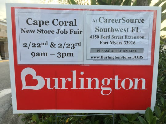 CareerSource Southwest Florida will host a job fair for Burlington on Thursday and Friday at 4150 Ford Street Extension in Fort Myers. Times are 9 a.m. to 3 p.m.