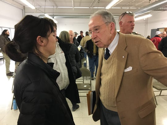 U.S. Sen. Chuck Grassley, R-Iowa, leans in while speaking