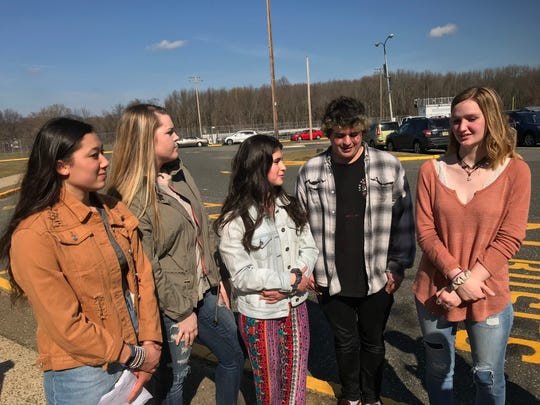 The co-organizers of a student walkout at Middletown High School South. From left: Hannah Doerr, Shelby Sheridan, Sofia Casamassa, Matt Smith and Maggie Franzreb.