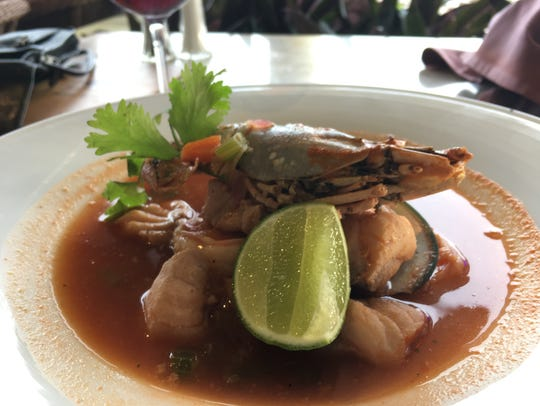 The seafood soup at Las Casitas brims with lobster,