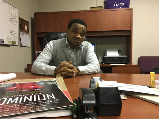 Pastor Tray Smith in his office at Faith Christian Community Church.