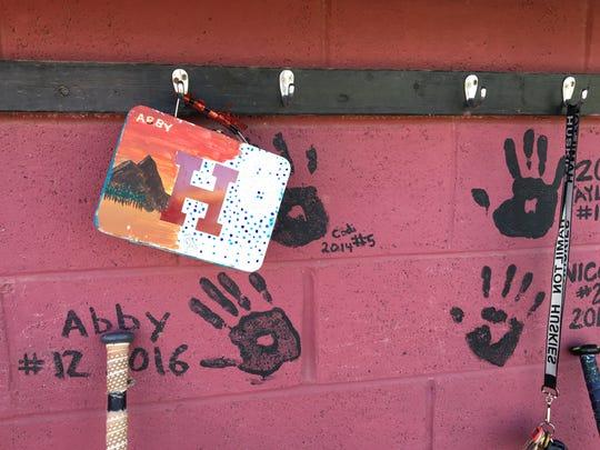Abby Andersen's lunch box hangs in the Chandler Hamilton