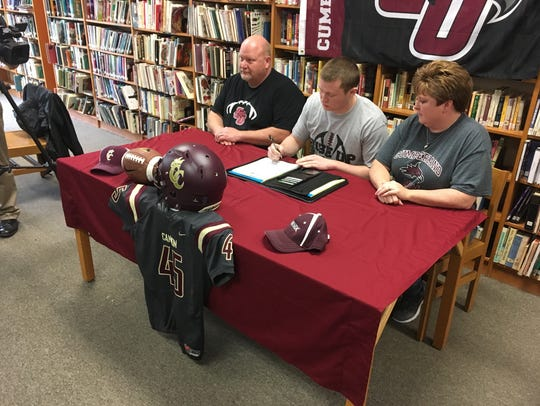 Cannon County senior Cole Hill signed to play football
