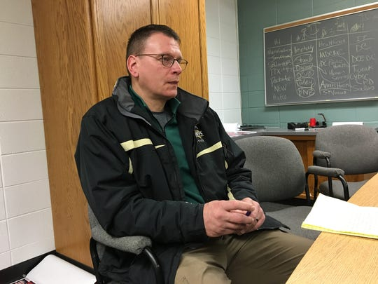 Door County Sheriff's Office Chief Deputy Pat McCarty describes the police investigation into the threatening Snapchat message Thursday, Feb. 22, 2018.