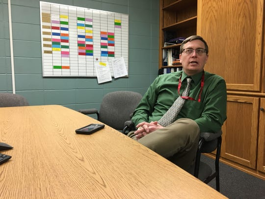 Sevastopol Secondary School Principal Kyle Luedtke describes the school response to a threat received Thursday, Feb. 22, 2018.