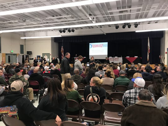 Parents filled the cafeteria at Balboa Middle School Thursday night to listen to Superintendent David Creswell and district staff address concerns of violence and bullying at the school