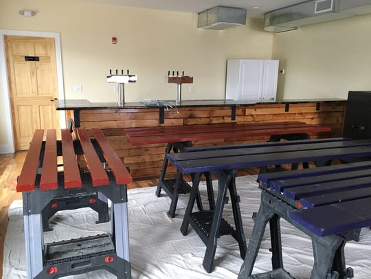 The second-floor tasting room at Raritan Bay Brewery