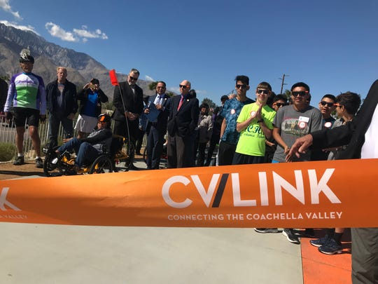 Participants gather for the CV Link ribbon cutting on Feb. 23, 2018.