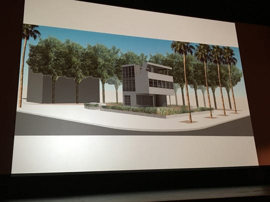 A rendering of the Aluminaire house as part of the new downtown park in Palm Springs, shard during the Modernism Week presentation Friday.