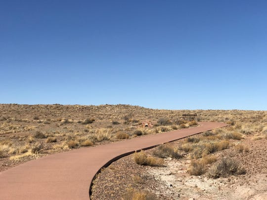 The path to the Homolovi II pueblo site is paved. It