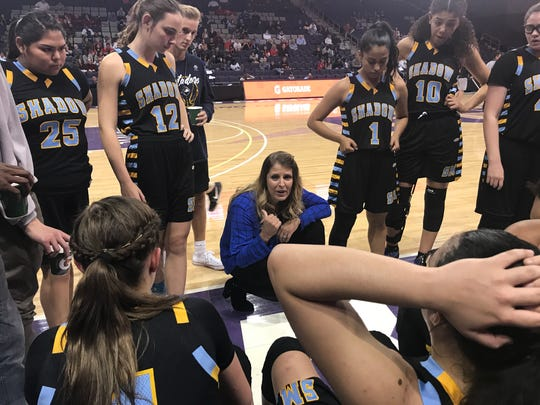 Shadow Mountain head coach Erica Farnsworth talks to her team during a timeout against Seton Catholic.