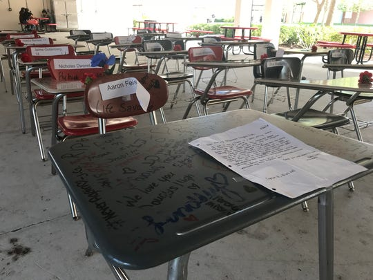 Students at Vero Beach High School moved 17 desks into