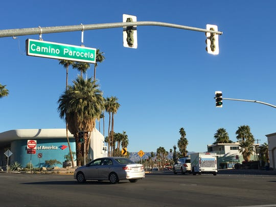 This shows the intersection of Camino Parocela and Indian Canyon and Palm Canyon drives in Palm Springs. City leaders recently ended plans to install a roundabout at the intersection.