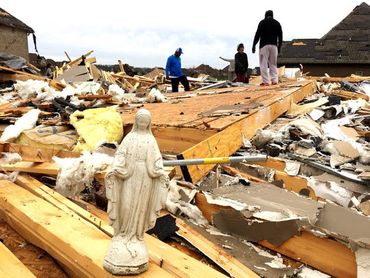 A statue of Mary was among the items volunteers salvaged