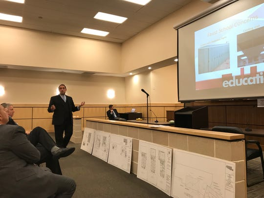 Superintendent Giovanni Giancaspro conducts a PowerPoint presentation on the upcoming referendum to the Borough Council and public on Feb. 20.