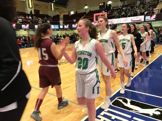 Abby Conklin (5) and Irvington defeated Valhalla in the Section 1 Class B semifinals, 72-36, at the Westchester County Center. Feb. 26, 2018.