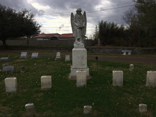 "The ""Turning Angel"" monument in the Natchez City Cemetery"