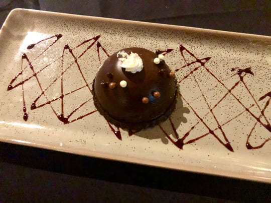 Chef Brandon's chocolate mousse dome ($12) at The Cave Bistro & Wine Bar.