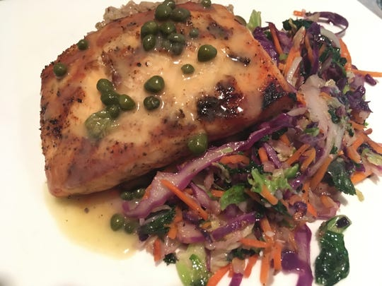 The Mediterranean Salmon is an excellent dish and is served over super vegetables.