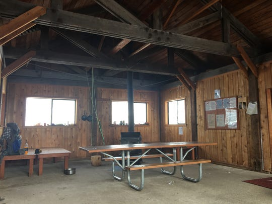 Inside of Mountain View Shelter reached via trails from Maxwell Sno-Park.