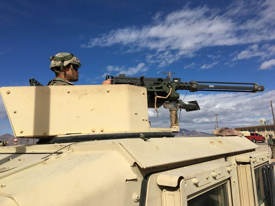Spc. Daniel Ransom with 69th Air Defense Artillery Brigade from Fort Hood, Texas, provides security during Roving Sands at Fort Bliss.