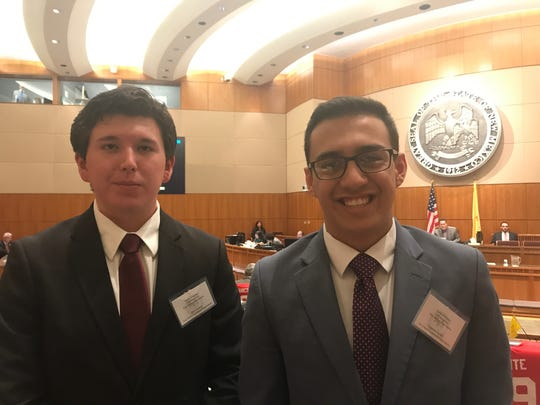 Max Sanchez, left, and Cameron Castillo are two Centennial High School students who testified in front of the state Senate Rules Committee in favor of Senate Memorial 8 — a request that asks the Public Education Department and the Legislative Education Study Committee to conduct a study on rates of suicide by firearms and gun violence in schools in the state.