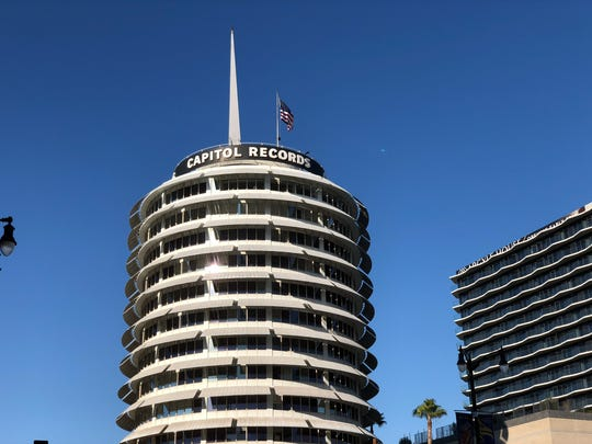 The historic Capitol Records building on Vine Street,